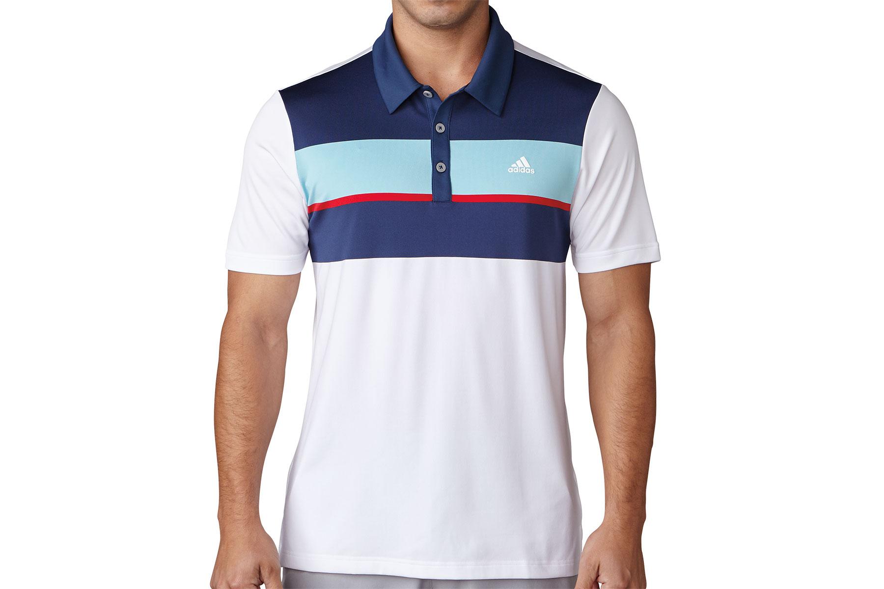 Adidas golf chest block polo shirt online