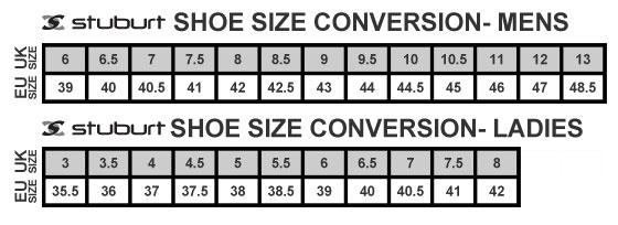 Stuburt Shoe Size Guide