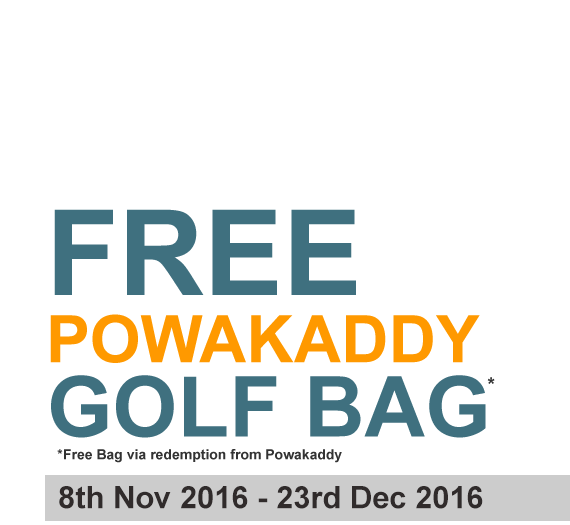 Purchase any PowaKaddy Lithium Electric Golf Trolley and get a PowaKaddy Golf Bag absolutely FREE