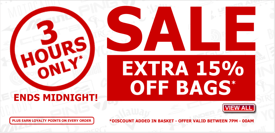 Extra 15percent off bags, 3 hours only