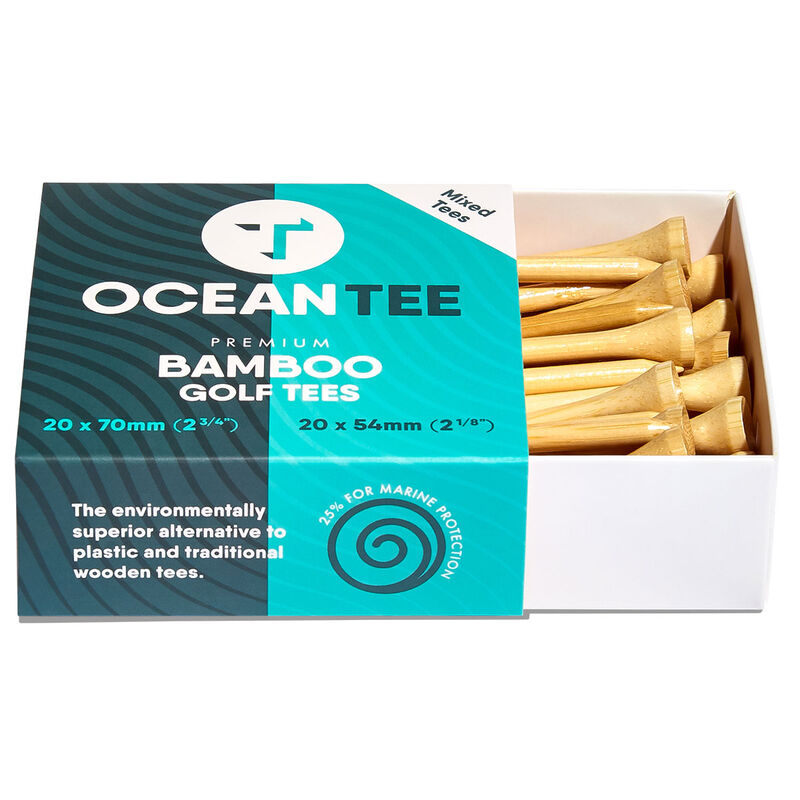Ocean Tee 54mm & 70mm Bamboo Tees - 40 Mixed Pack, Male, Wood, Various