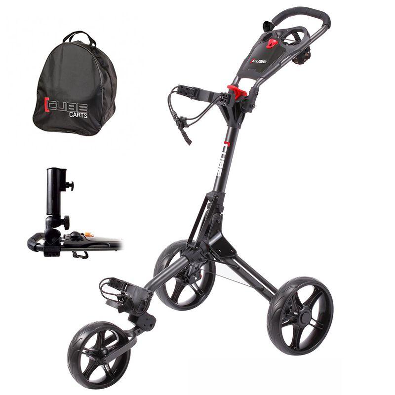 CUBE 3 Golf Trolley Bundle, Charcoal/Black