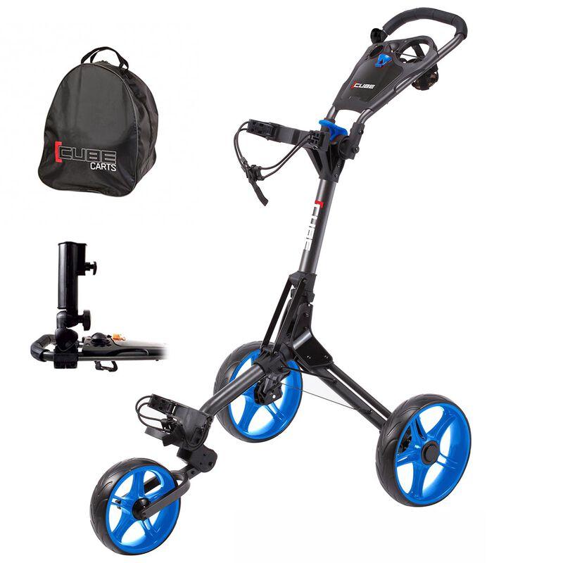 CUBE 3 Golf Trolley Bundle, Charcoal/Blue