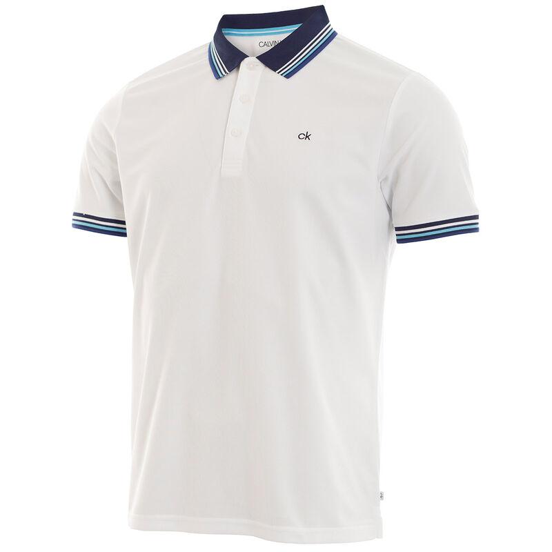 Calvin Klein Bi-Lite Golf Polo Shirt, Male, White/Sky, Large