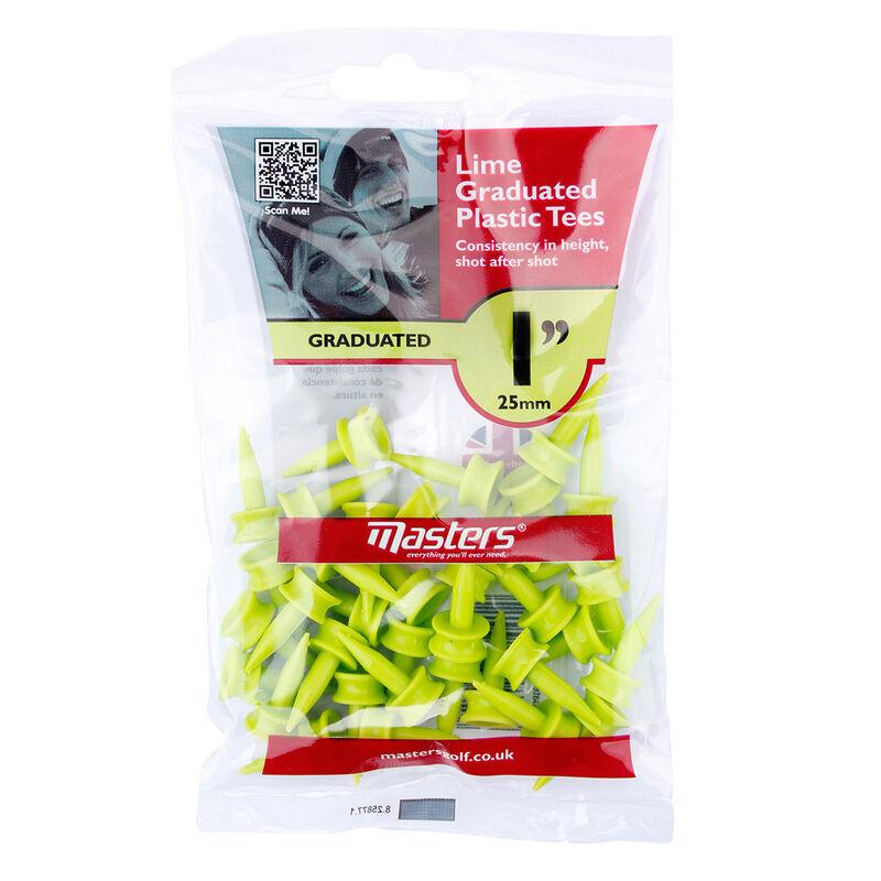 Masters Golf Graduated Plastic Tees Male Tees Lime 25mm