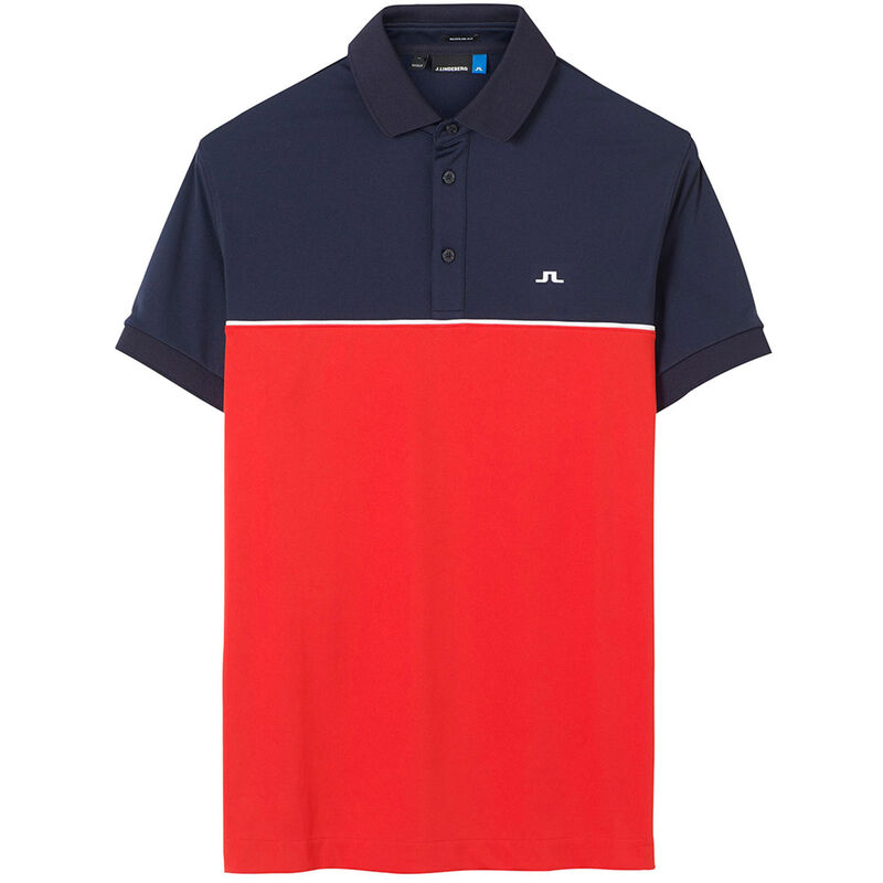 J.Lindeberg Brighton TX Jersey Golf Polo Shirt, Male, Racing Red/Navy, Large