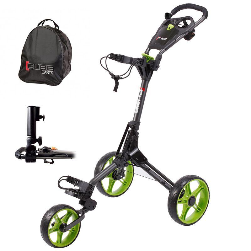 CUBE 3 Golf Trolley Bundle, Charcoal/Lime