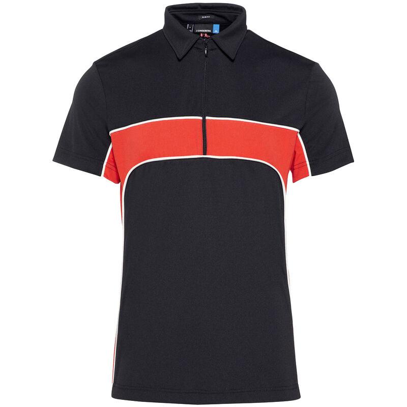J.Lindeberg Desmond TX Jersey Golf Polo Shirt, Male, Black/Red, Large