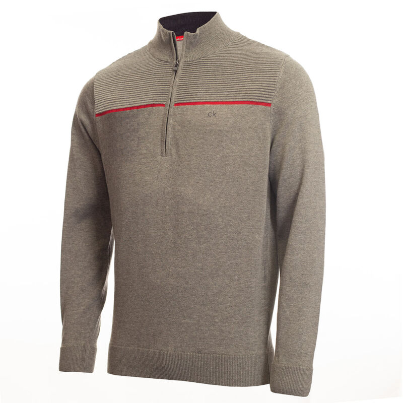 Calvin Klein 1/2 Zip Golf Sweater, Male, Grey Melange, Large
