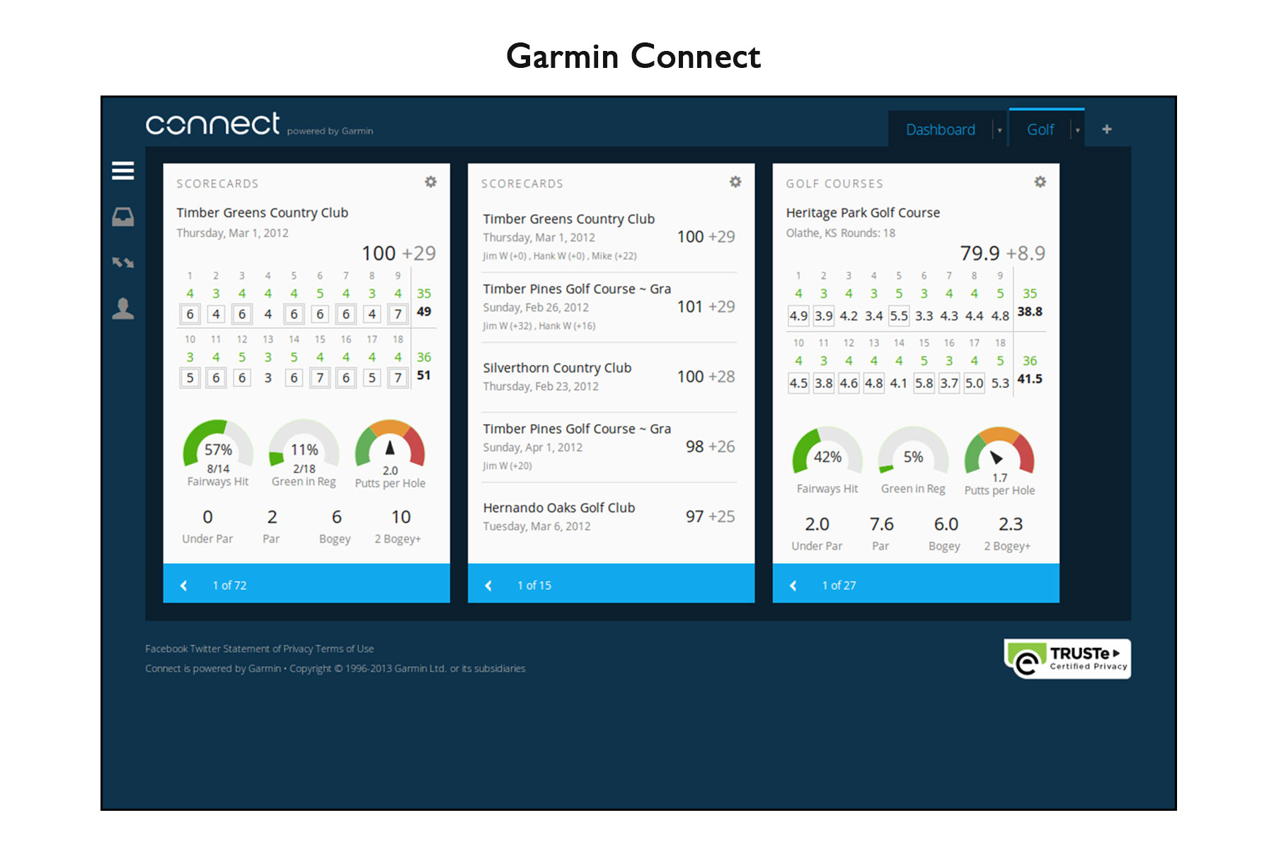 how to add golf courses to garmin connect