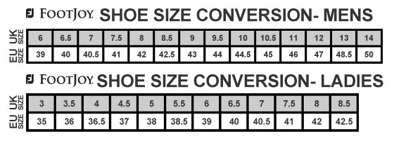 FootJoy Shoe Size Table