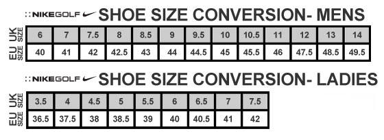 Nike Shoes Size Guide