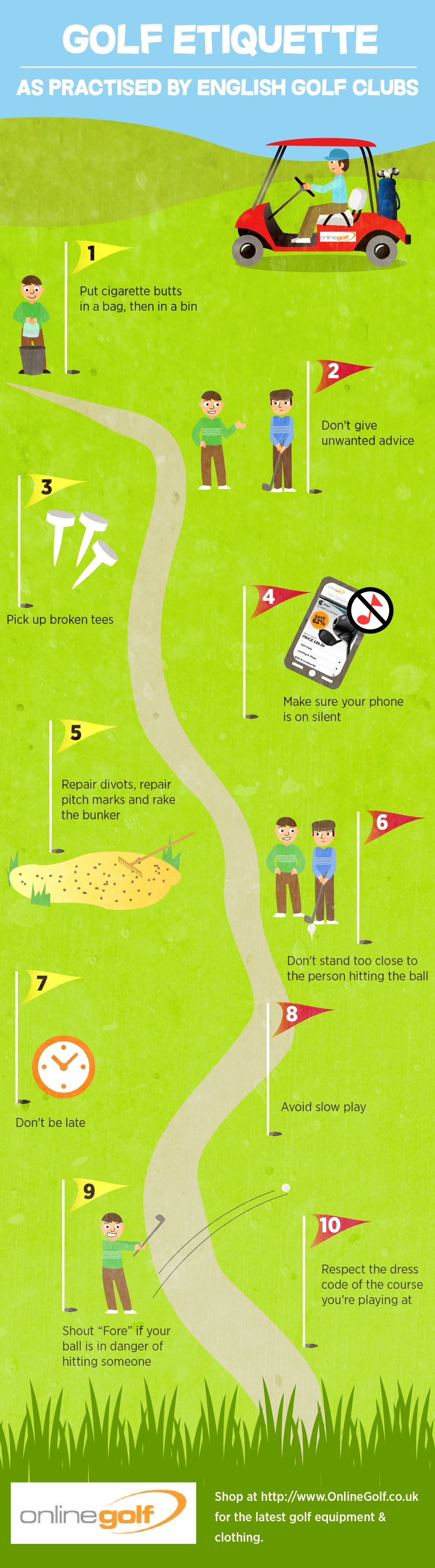 Top 10 Tips On Good Golf Etiquette infographic